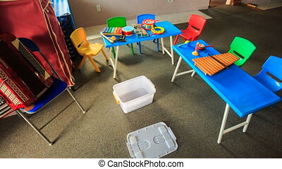 Small Tables Chairs in Kindergarten Toy Boxes Motion - small...