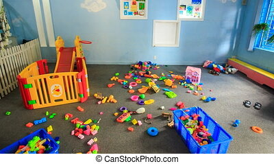 Toys Balls on Floor in Kindergarten Move to Wall - many toys...