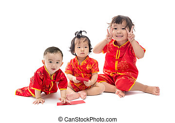 Cute Asian baby boy and girl in traditional Chinese suit...