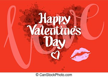 happy Valentines day love heart red pink kiss