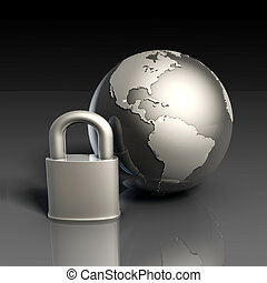 Data Security with Globe and Lock of the Internet
