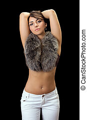 nice woman - Beautiful nice woman with fur. Isolated on...
