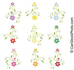 Vector flowers on white background