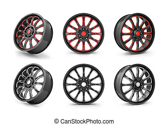 Collection of car rim isolated on white.