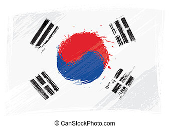 Grunge South Korea flag - South Korea national flag created...