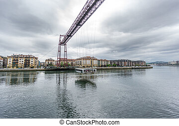 Wide angle of the Bizkaia suspension bridge - Wide angle...