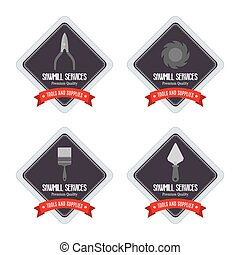 Sawmill labels objects - abstract sawmill labels on a white...