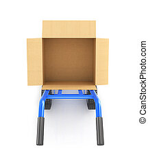 hand truck with an open cardboard box, top view isolated on...