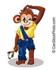 Ragazzo, cartone animato, scimmia