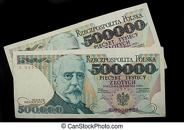 five hundred thousand zloty - two old notes five hundred...
