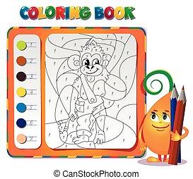 circa, coloritura, libro, scimmia