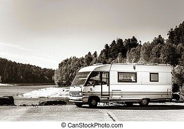 Touristic caravan staying near the lake - Touristic caravan...