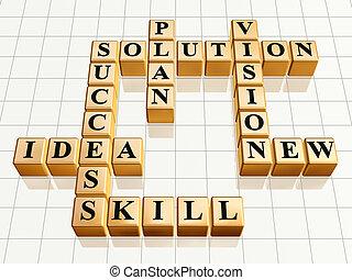 crossword 2 golden - 3d golden cubes like crossword -...