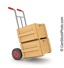 Hand truck whit wooden crates