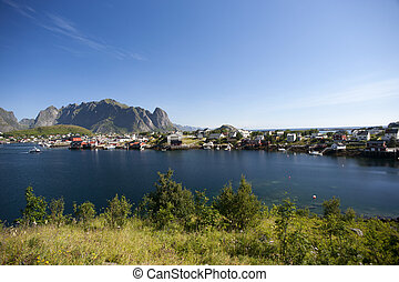 Lofoten Islands near Moskenes, Norway - Summer view of...