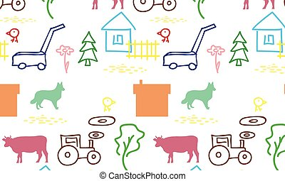 seamless pattern with a farm
