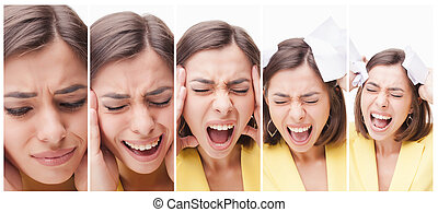 The collage of a beautiful business woman in stress - The...