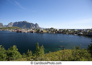 Summer view of Lofoten Islands near Moskenes, Norway