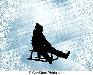 Kid sledding silhouette on the abstract background - vector