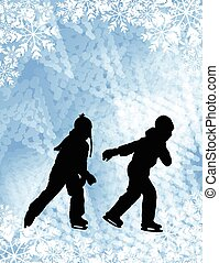 ice skating background - Kids ice skating silhouettes on the...