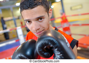 Portrait of young male boxer
