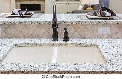 Rubbed Bronze Fixtures on Granite Countertop - Beautiful new...