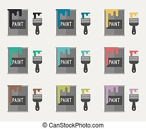 Paint brushes and paint buckets - Flat Icons of paint...