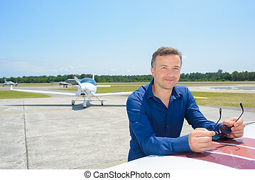 man and airplanes
