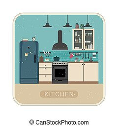 Retro kitchen interior .