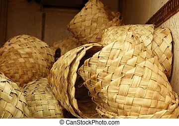 African traditional handcraft round baskets stock