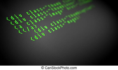 Program code on the computer display - Program code on a...