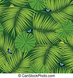 Rain forest pattern - Seamless pattern made of illustrated...