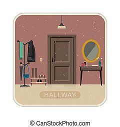 Hallway interior with door. - Hall interior with entrance...