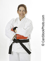 Martial art artist woman - woman in her fortie, wearing red...
