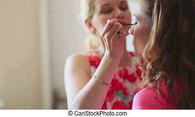 Make-up for photo session - Model making-up for photo...