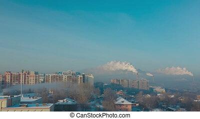 Smoke and fog over the city