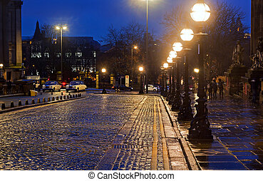 Victorian Street lights in William Brown St Liverpool on a wet night