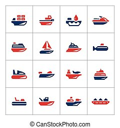 Set color icons of water transport