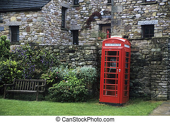Red English phone booth - Typical red english phone booth in...