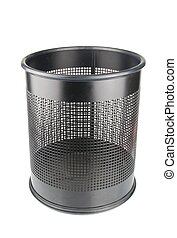 Black garbage bin - empty black wastepaper basket isolated...