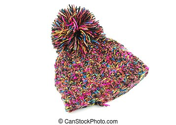 Winter knit hat - colorful winter knit hat isolated on white...