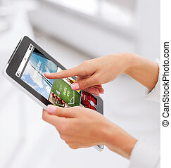 close up of hands with internet app on tablet pc - business,...
