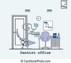 flat dentist office illustration design background.Vector...