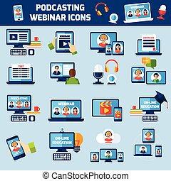 Podcasting and webinar icons set - Podcasting and online...