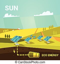 Ecologycal energy cartoon poster with solar power panels on...