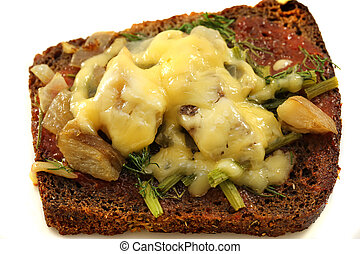 Beautiful delicious sandwich c cheese and porcini mushrooms...