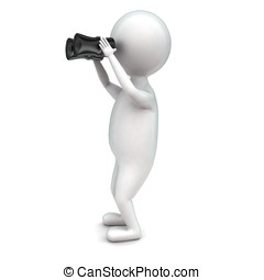 3d man looking through binocular concept in white isolated...