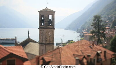 Tower Background Como Lake with Ship