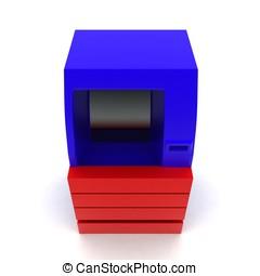 3d  cash machine - atm machine concept