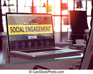 Social Engagement Concept on Laptop Screen - Social...